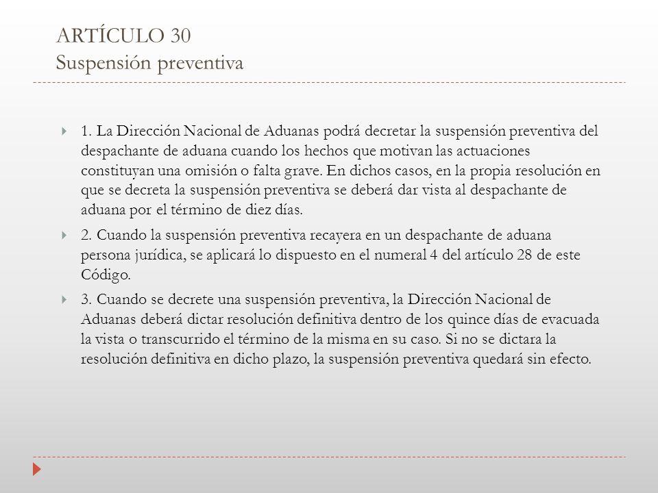 ARTÍCULO 30 Suspensión preventiva