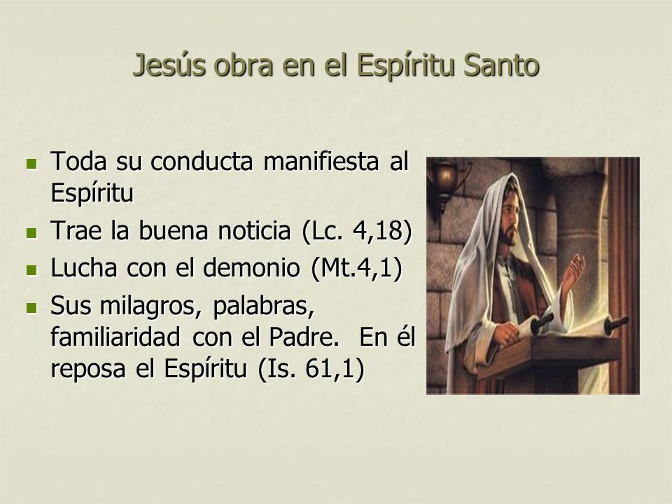 Jesús obra en el Espíritu Santo