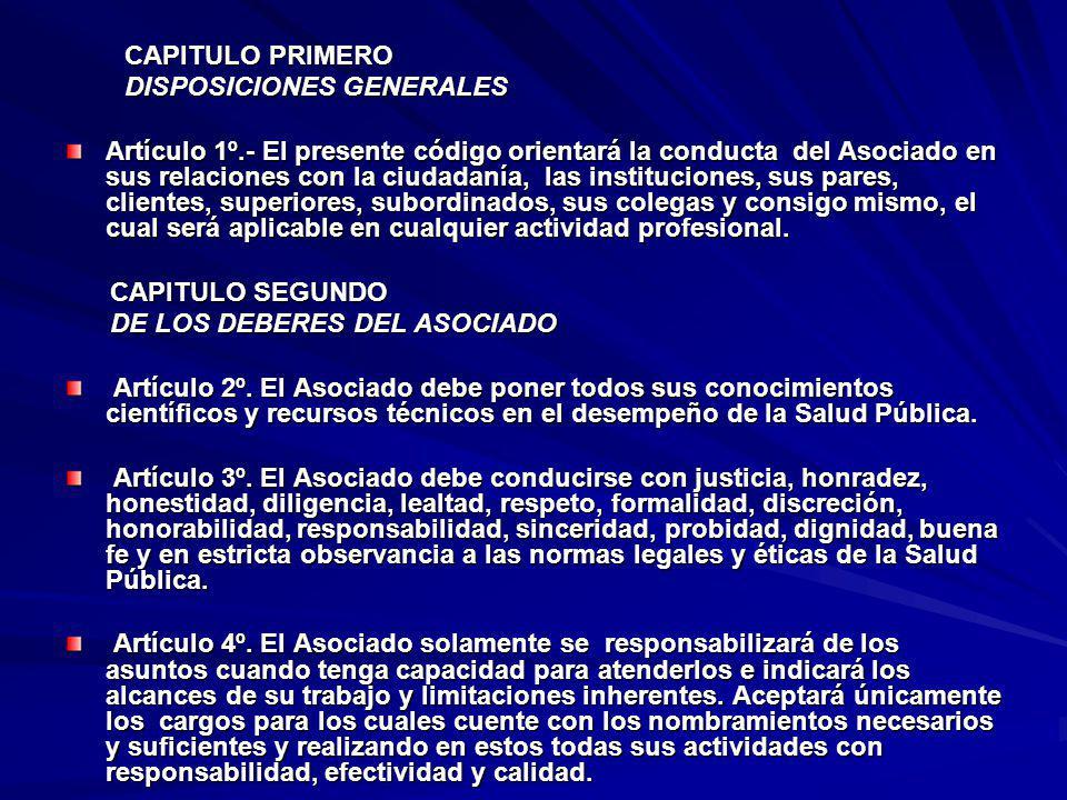 CAPITULO PRIMERO DISPOSICIONES GENERALES.