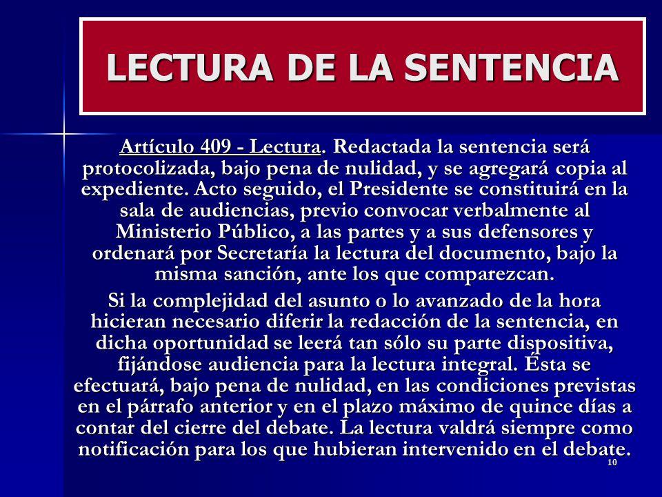 LECTURA DE LA SENTENCIA