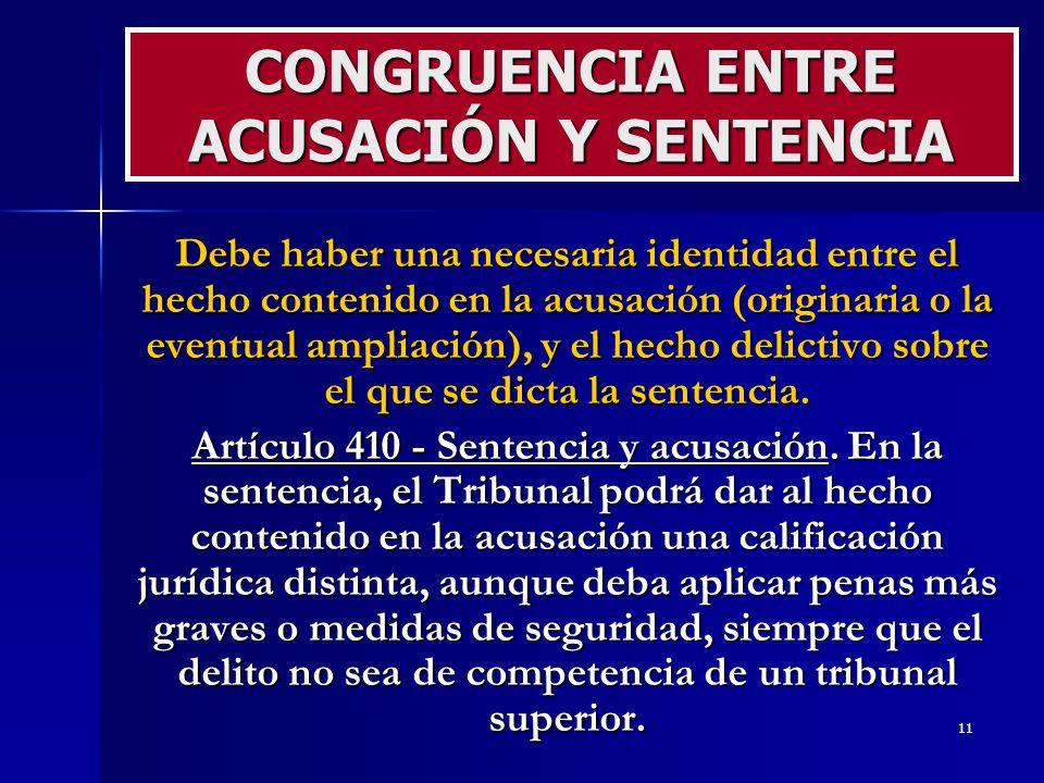 CONGRUENCIA ENTRE ACUSACIÓN Y SENTENCIA