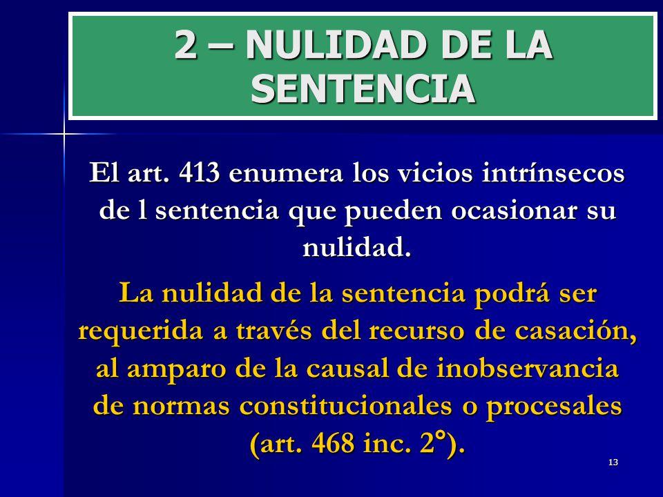 2 – NULIDAD DE LA SENTENCIA