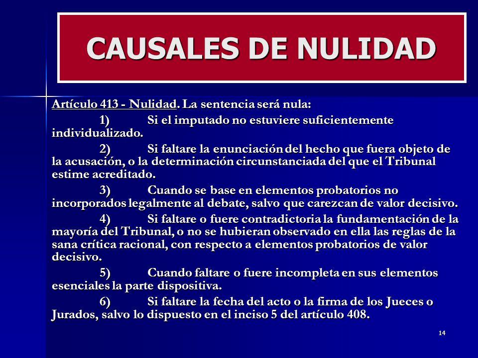 CAUSALES DE NULIDAD Artículo 413 - Nulidad. La sentencia será nula: