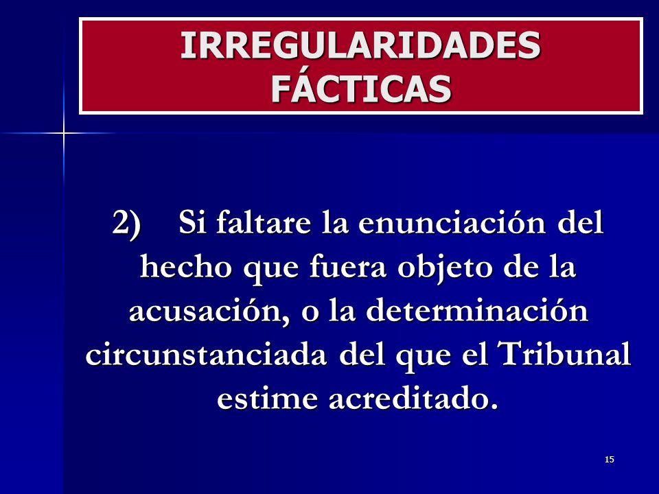 IRREGULARIDADES FÁCTICAS