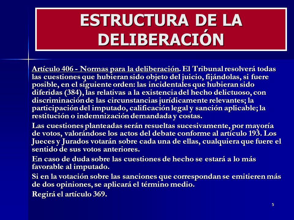 ESTRUCTURA DE LA DELIBERACIÓN