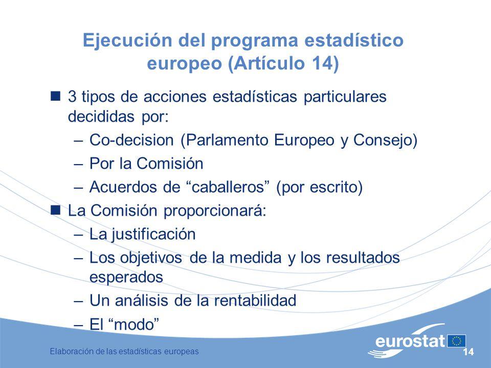 Ejecución del programa estadístico europeo (Artículo 14)