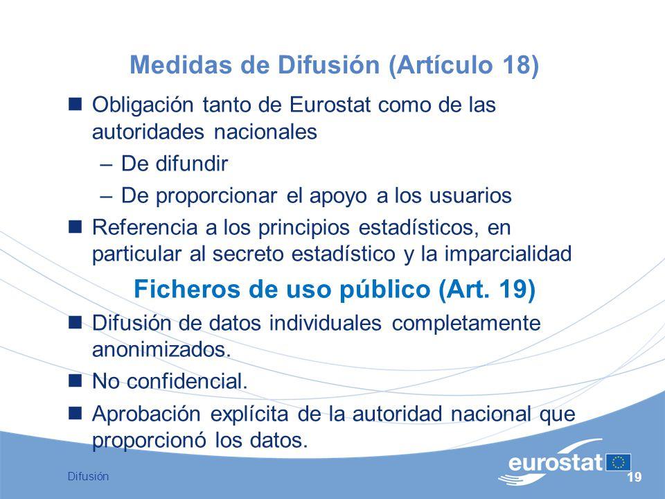 Medidas de Difusión (Artículo 18)