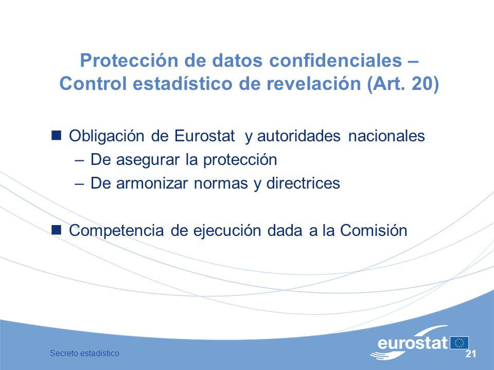 Protección de datos confidenciales – Control estadístico de revelación (Art. 20)