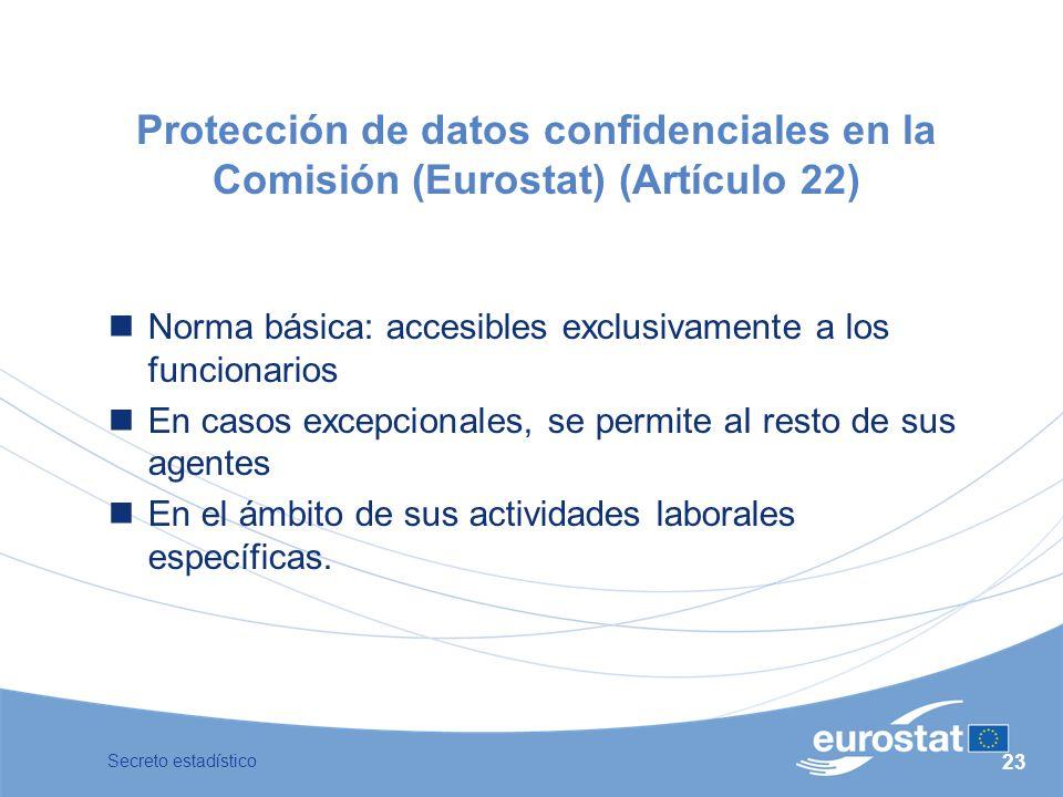 Protección de datos confidenciales en la Comisión (Eurostat) (Artículo 22)