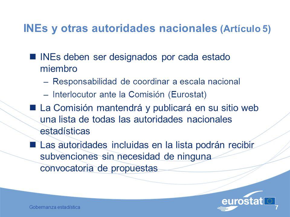INEs y otras autoridades nacionales (Artículo 5)