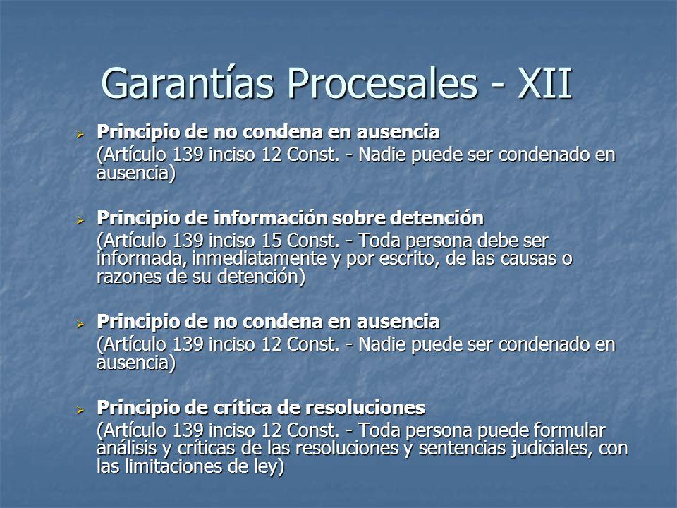 Garantías Procesales - XII