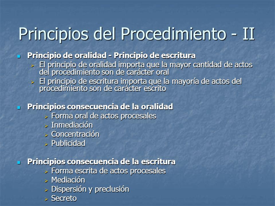 Principios del Procedimiento - II
