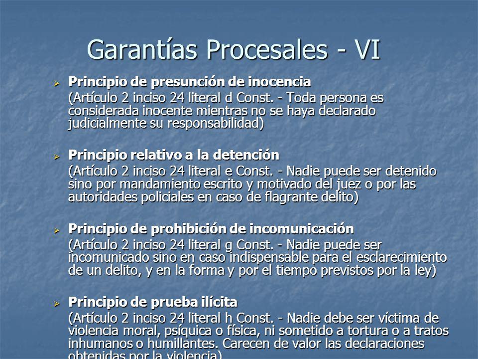 Garantías Procesales - VI
