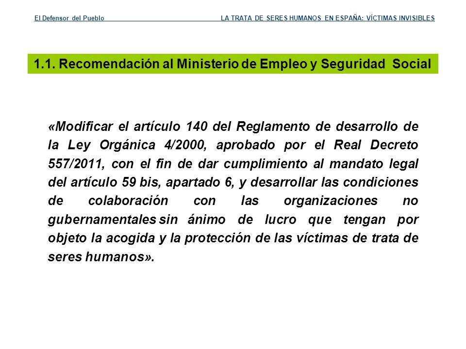 1.1. Recomendación al Ministerio de Empleo y Seguridad Social