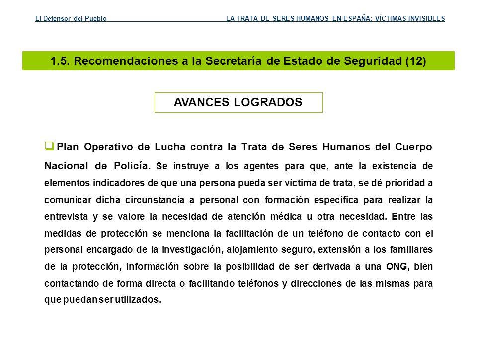 1.5. Recomendaciones a la Secretaría de Estado de Seguridad (12)