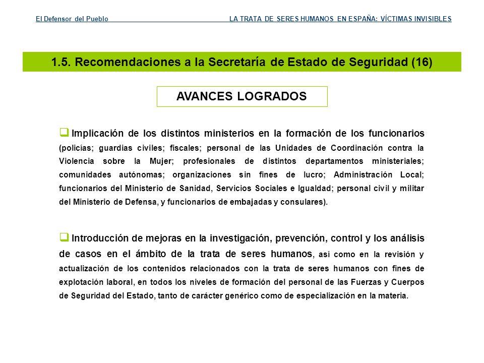 1.5. Recomendaciones a la Secretaría de Estado de Seguridad (16)