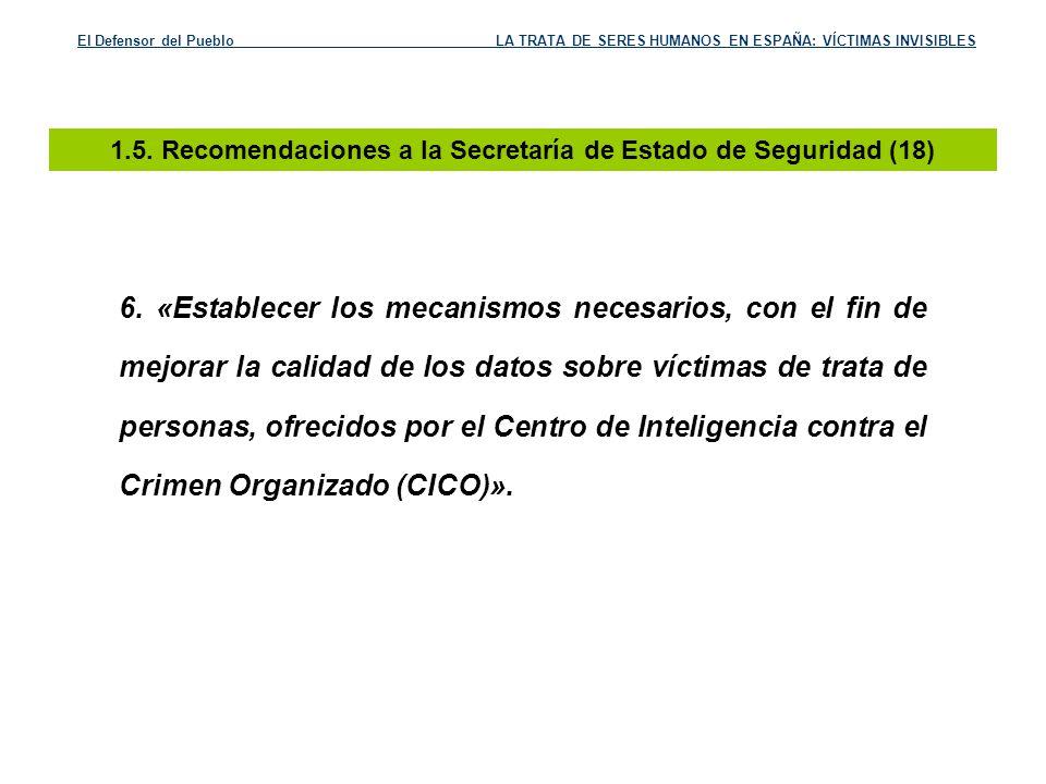 1.5. Recomendaciones a la Secretaría de Estado de Seguridad (18)