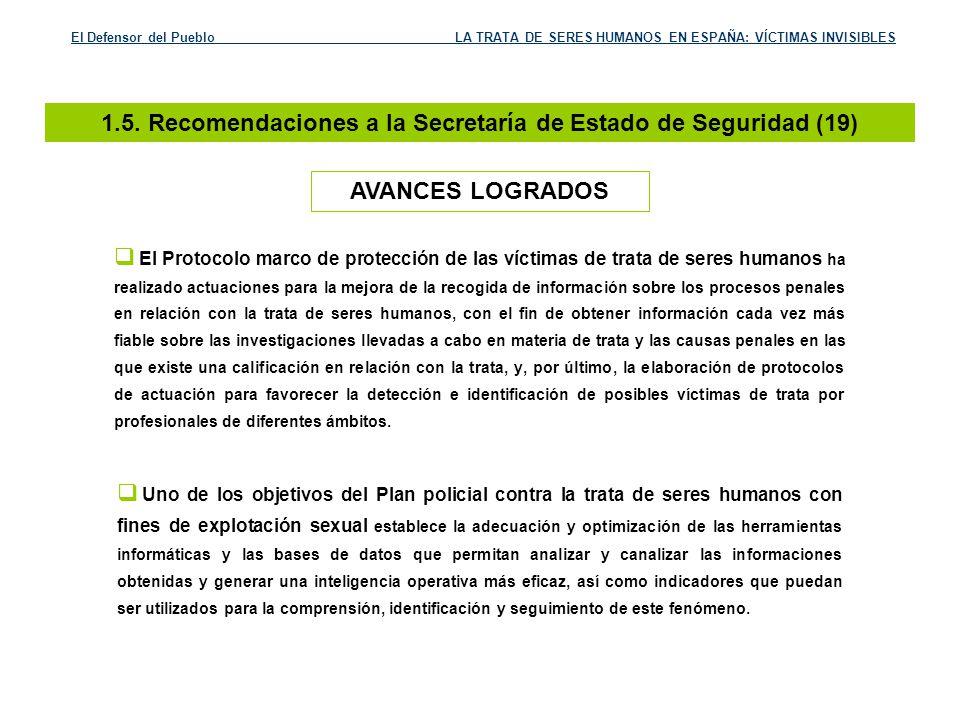 1.5. Recomendaciones a la Secretaría de Estado de Seguridad (19)