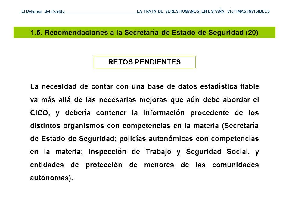 1.5. Recomendaciones a la Secretaría de Estado de Seguridad (20)