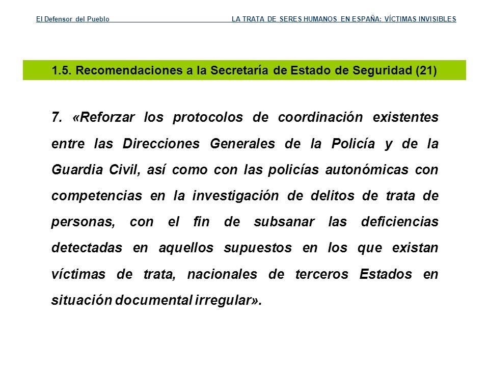 1.5. Recomendaciones a la Secretaría de Estado de Seguridad (21)