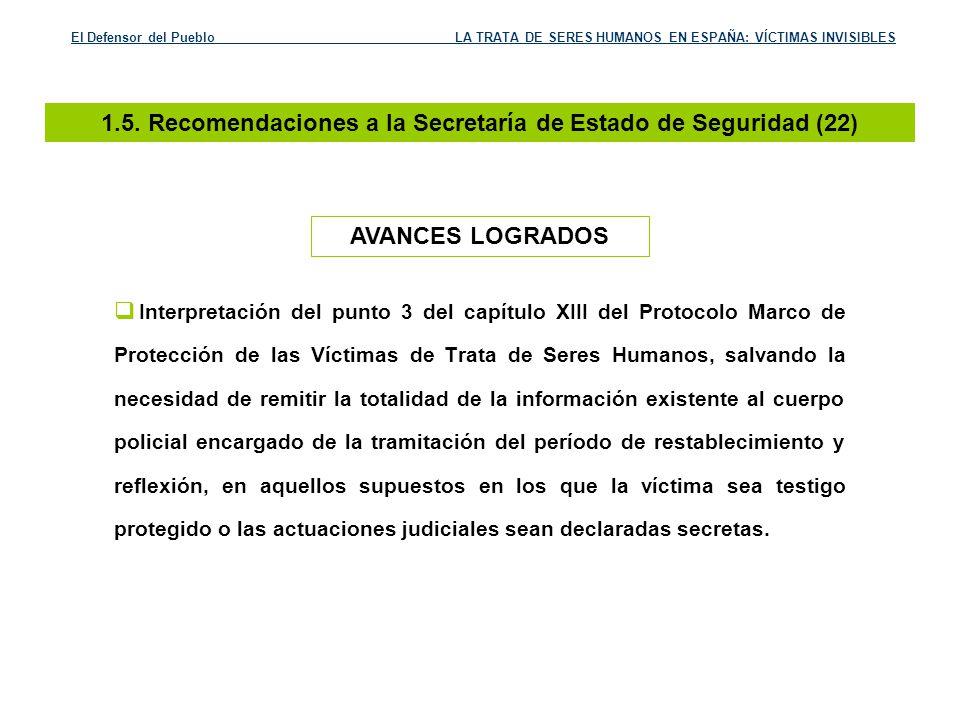 1.5. Recomendaciones a la Secretaría de Estado de Seguridad (22)