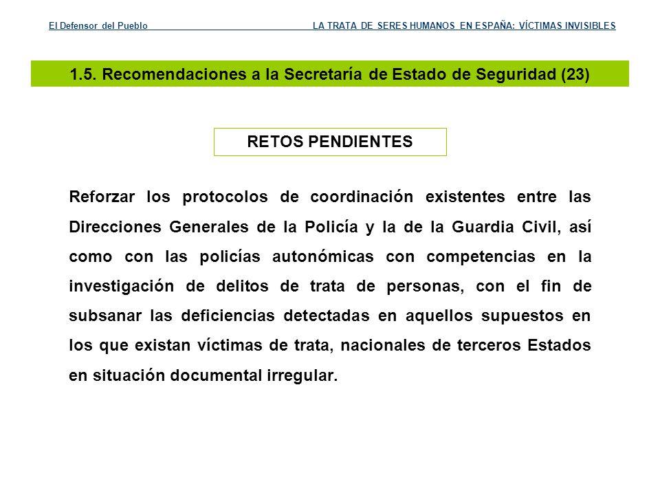 1.5. Recomendaciones a la Secretaría de Estado de Seguridad (23)