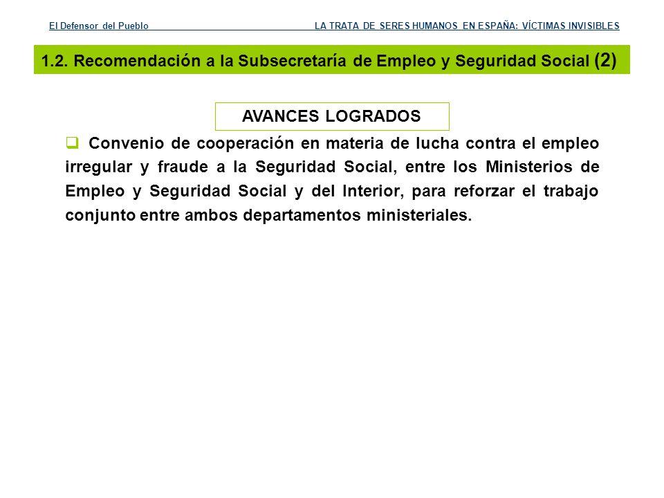 1.2. Recomendación a la Subsecretaría de Empleo y Seguridad Social (2)