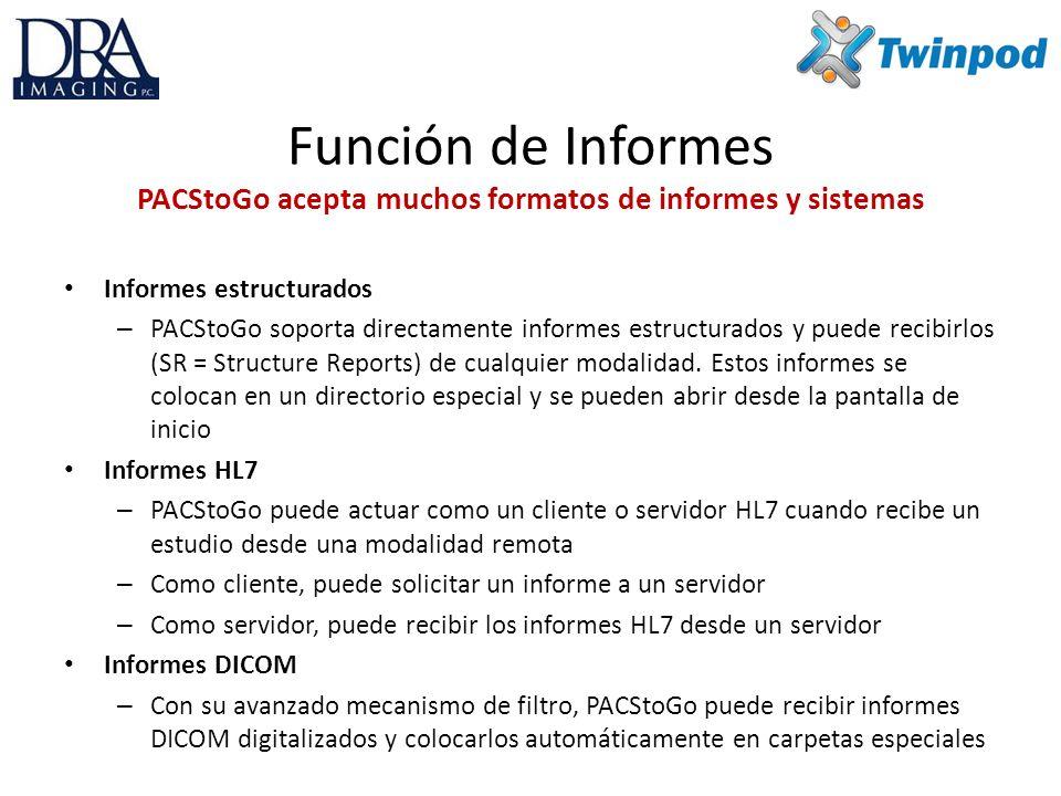 Función de Informes PACStoGo acepta muchos formatos de informes y sistemas