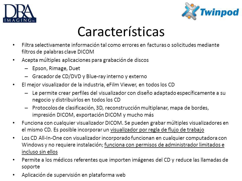 Características Filtra selectivamente información tal como errores en facturas o solicitudes mediante filtros de palabras clave DICOM.
