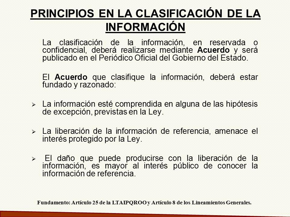PRINCIPIOS EN LA CLASIFICACIÓN DE LA INFORMACIÓN