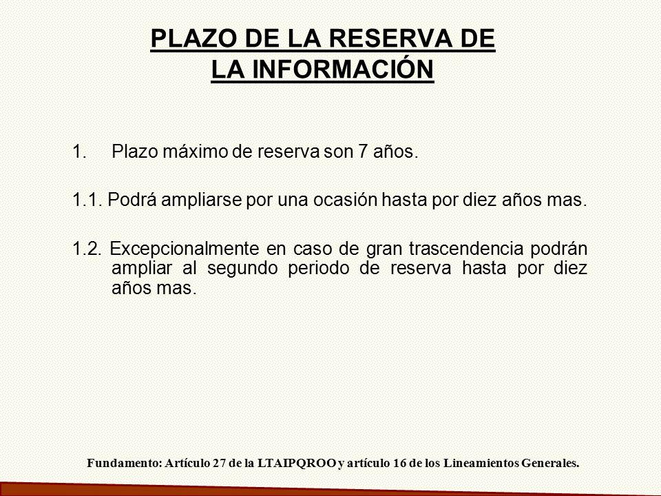 PLAZO DE LA RESERVA DE LA INFORMACIÓN