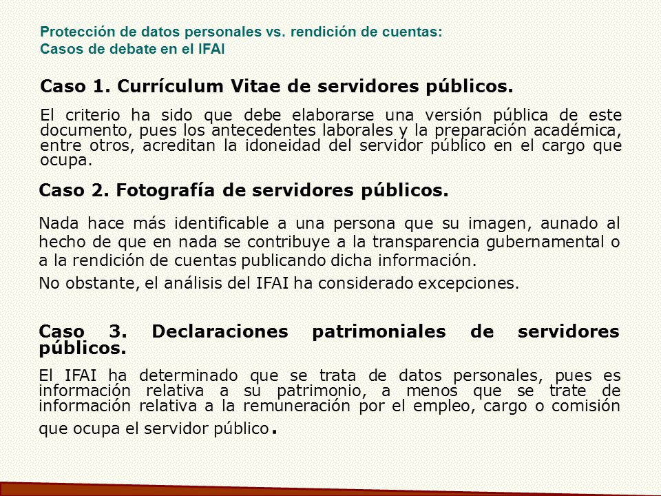 Caso 1. Currículum Vitae de servidores públicos.