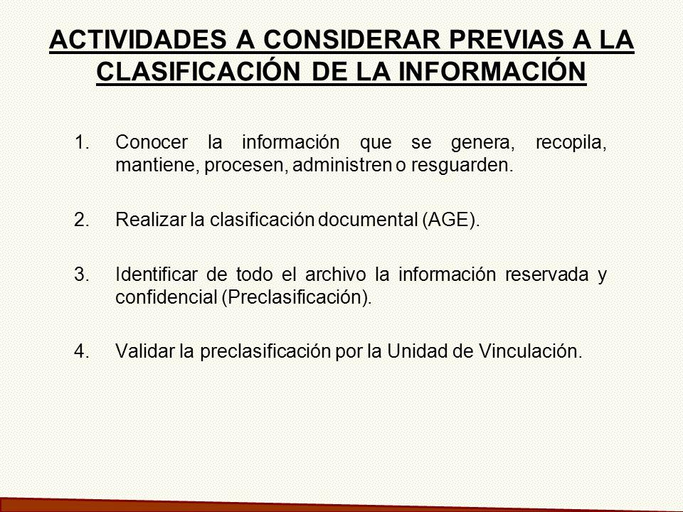 ACTIVIDADES A CONSIDERAR PREVIAS A LA CLASIFICACIÓN DE LA INFORMACIÓN