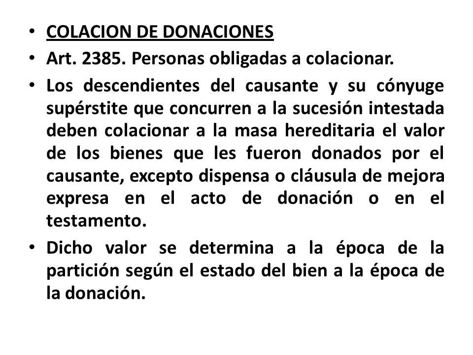 COLACION DE DONACIONES