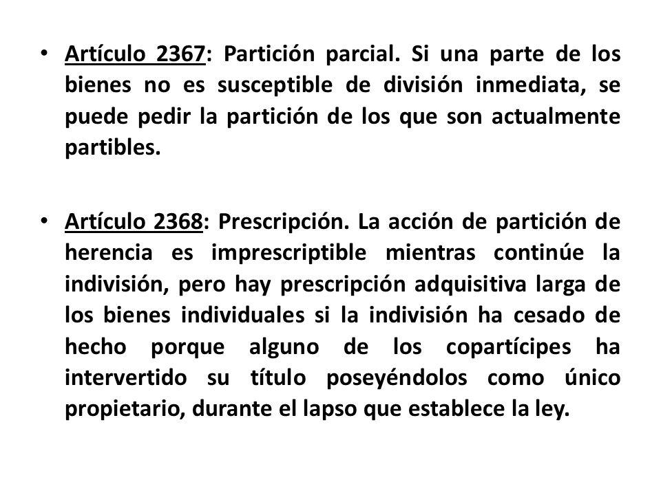 Artículo 2367: Partición parcial