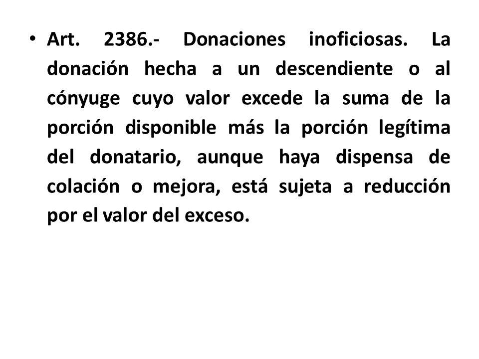 Art. 2386. - Donaciones inoficiosas