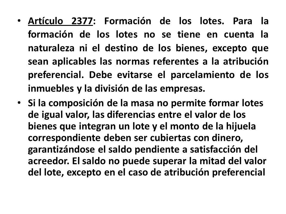 Artículo 2377: Formación de los lotes