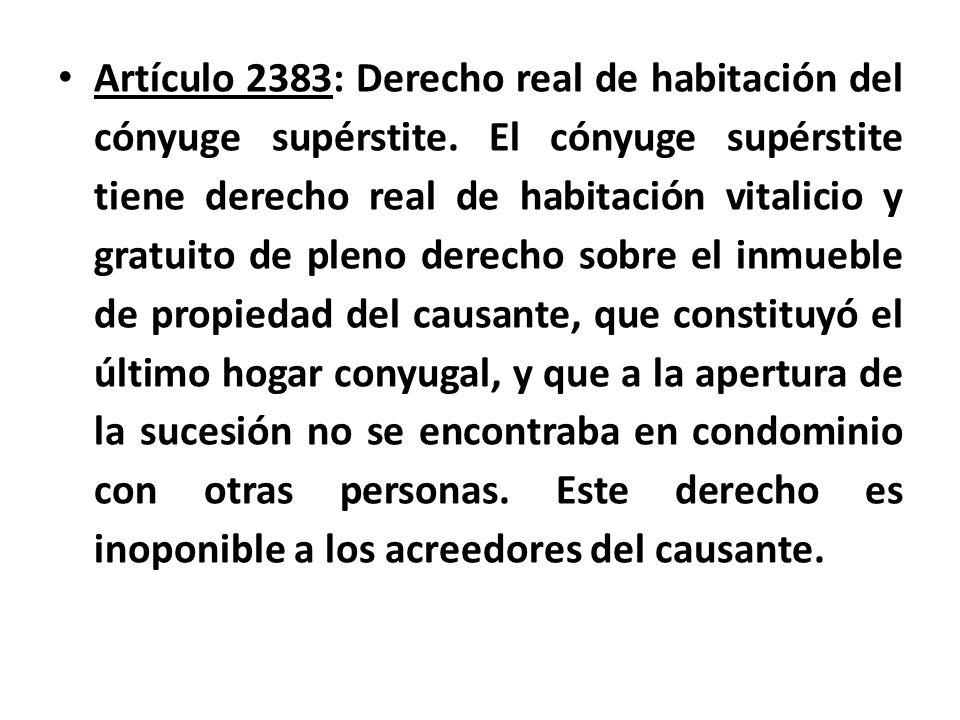 Artículo 2383: Derecho real de habitación del cónyuge supérstite