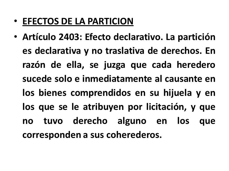 EFECTOS DE LA PARTICION