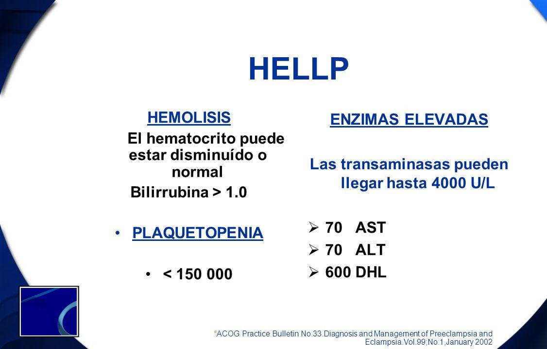HELLP HEMOLISIS El hematocrito puede estar disminuído o normal