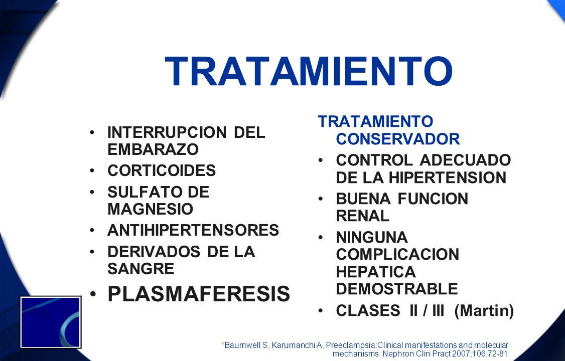 TRATAMIENTO PLASMAFERESIS INTERRUPCION DEL EMBARAZO CORTICOIDES