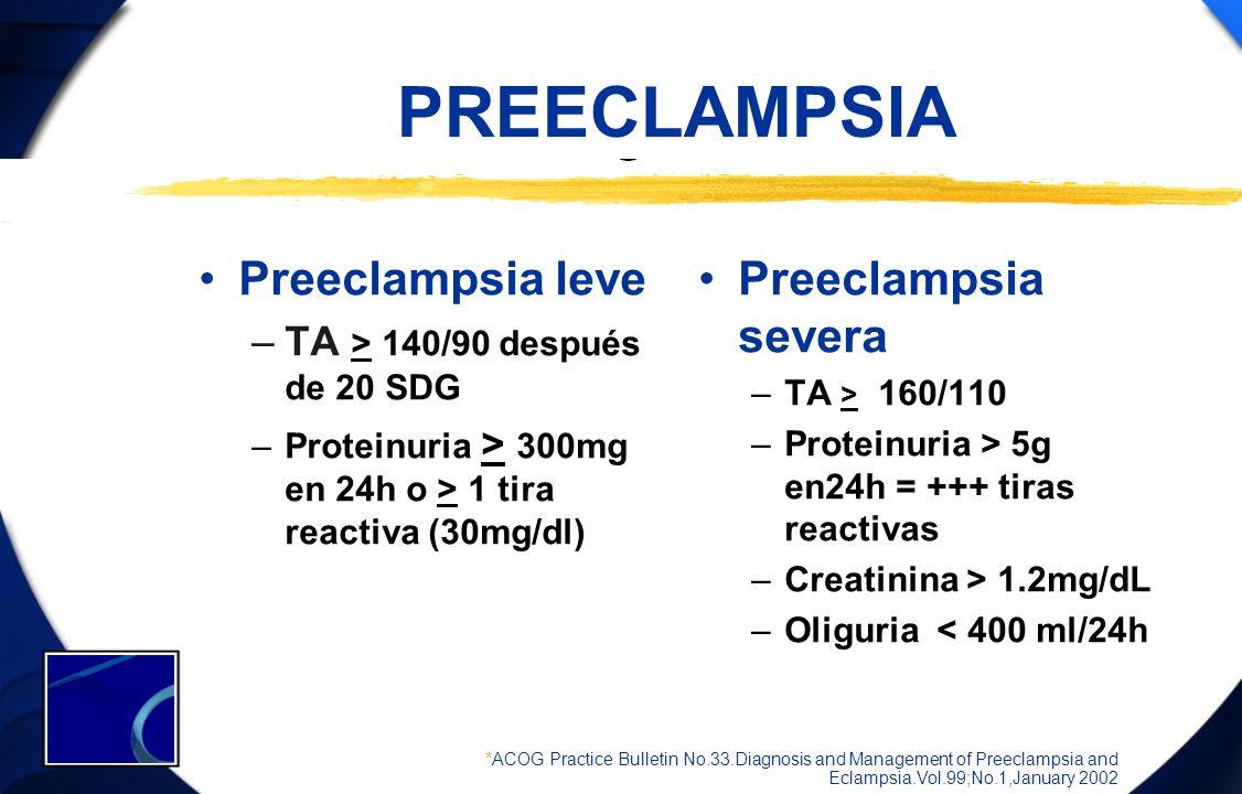 PREECLAMPSIA Preeclampsia leve Preeclampsia severa