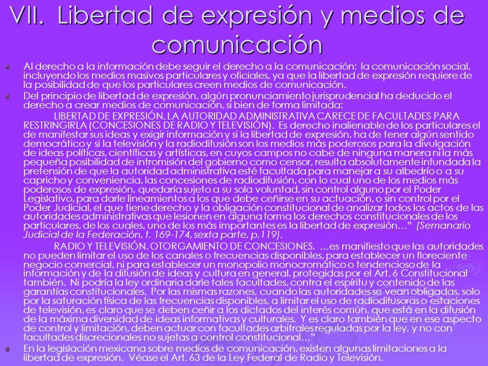 VII. Libertad de expresión y medios de comunicación