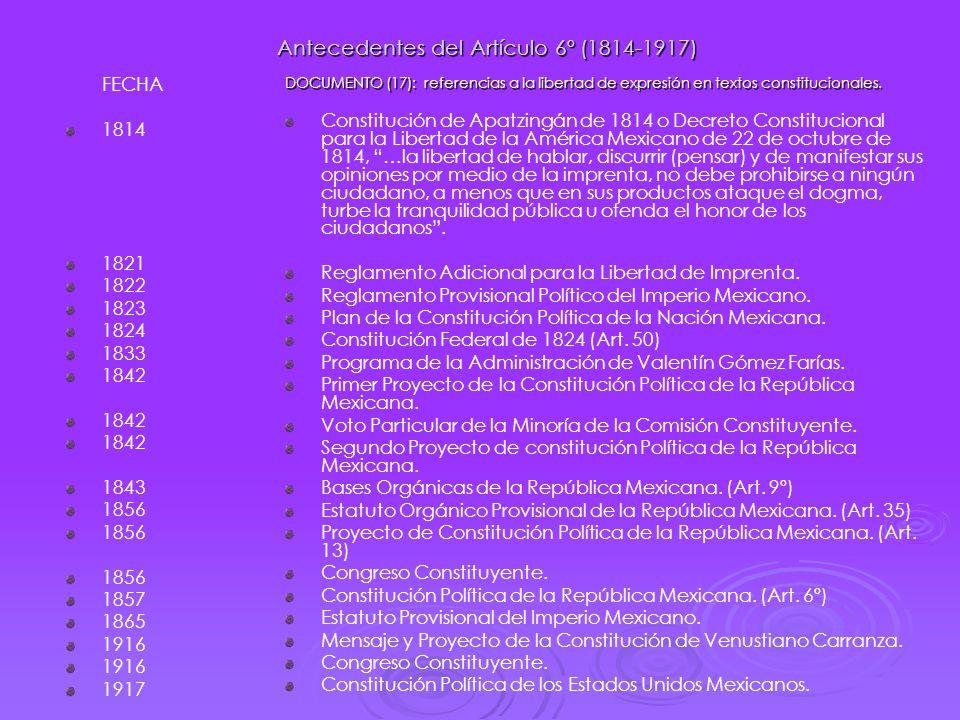 Antecedentes del Artículo 6º (1814-1917)