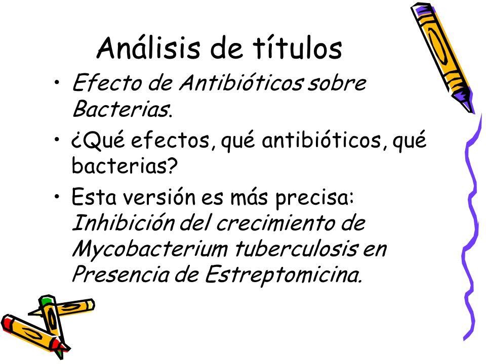 Análisis de títulos Efecto de Antibióticos sobre Bacterias.