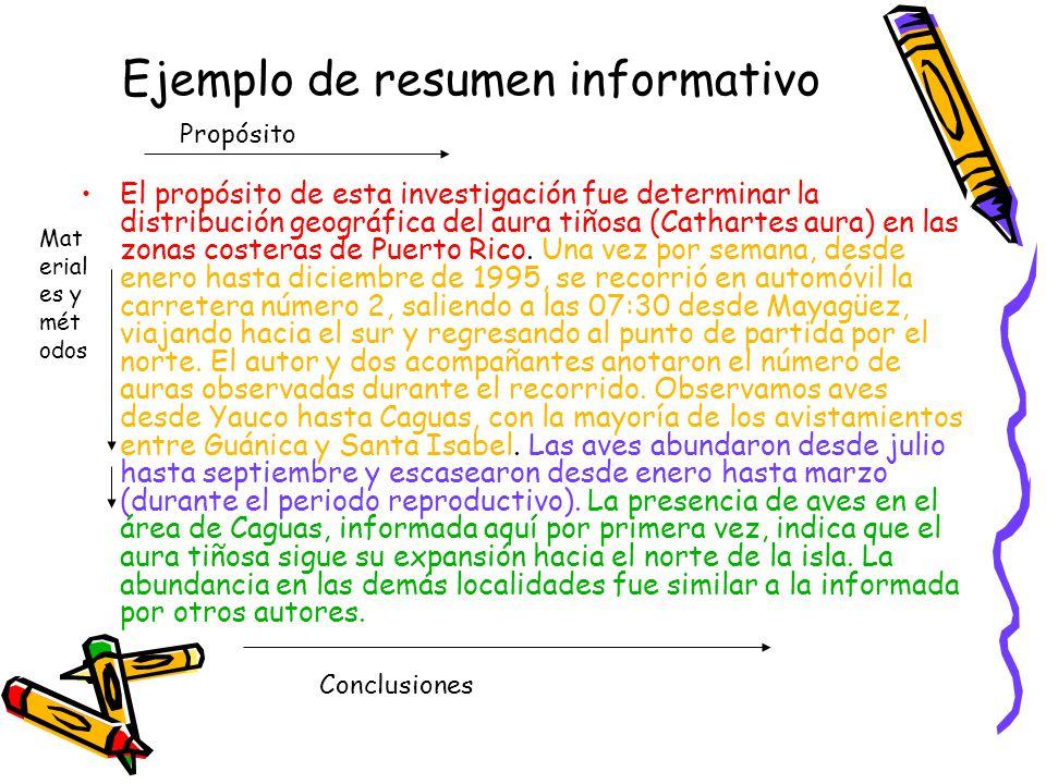 Ejemplo de resumen informativo