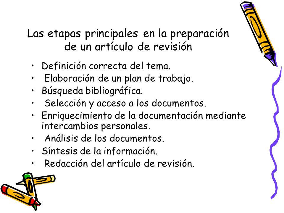 Las etapas principales en la preparación de un artículo de revisión