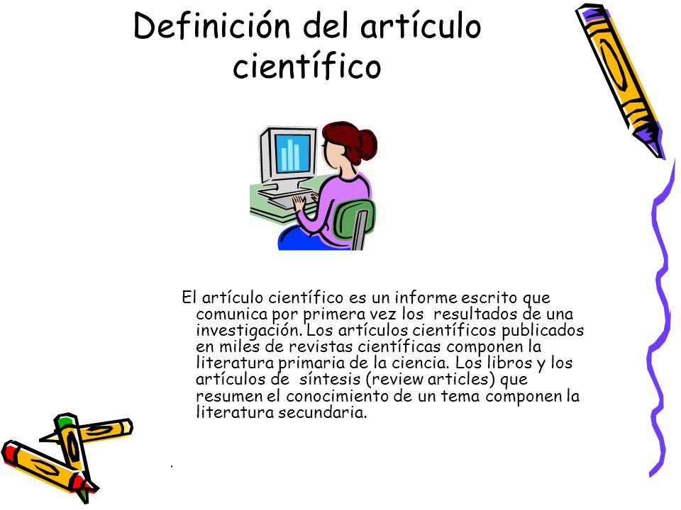 Definición del artículo científico