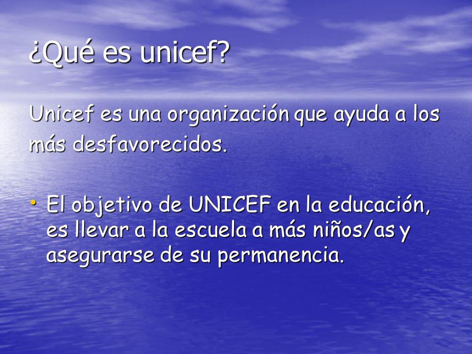¿Qué es unicef Unicef es una organización que ayuda a los