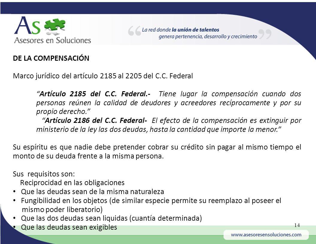 DE LA COMPENSACIÓN Marco jurídico del artículo 2185 al 2205 del C.C. Federal.